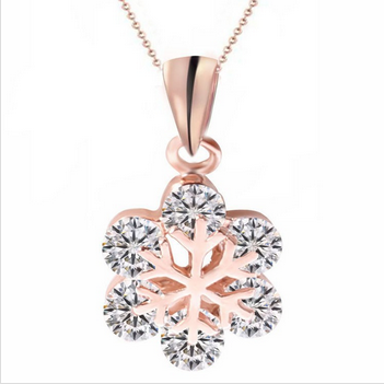 Inlay zircon Rose Gold crystal pendant necklace