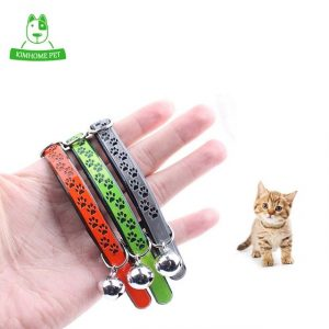 High Quality Nylon PU Leather Bells Pet Collar Cute Reflective Cats Collars for Small Dogs Cat 3 Colors