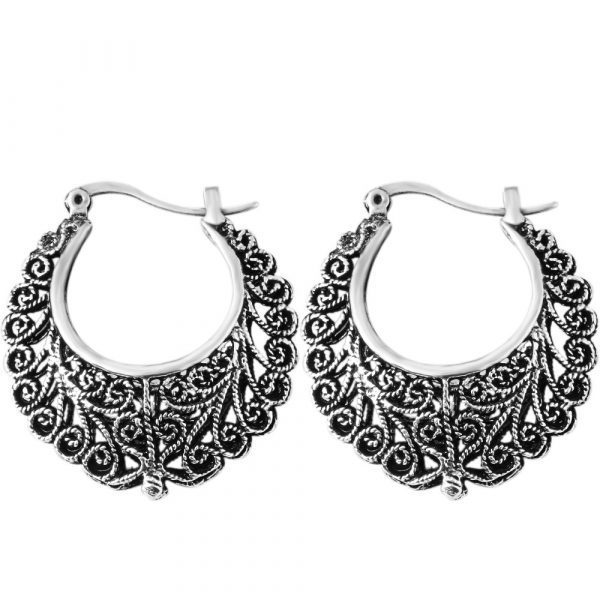 Hot Retro Antique Tibet Silver Color Flower Earrings Hollow Vintage Brincos Brand Drop Earrings