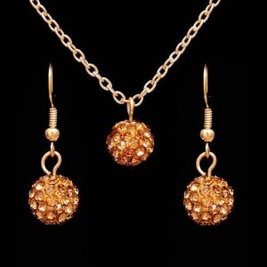 Jewelry Sets Rhinestone ball Necklace Earrings Dangle Pendants18K Gold Plated Crystal