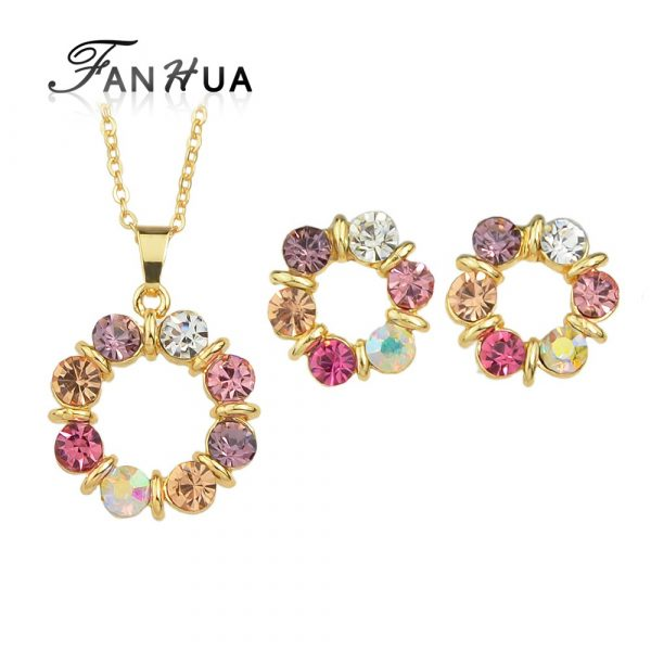 Jewerly-Sets-Gold-Color-Chain-Colorful-Rhinestone-Flower-Pendant- shop online pakistan clicknorder.pk