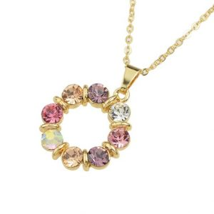 Jewelry Sets Colorful Rhinestone Pendant Necklace and Earrings