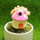 Lovely 1Pc Mini Mushroom House Ornaments Potted Plant Craft Decoration Bonsai Garden Resin For Garden Decoration