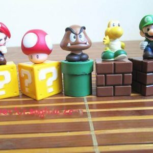 Super Mario Bros 5pcs/set Mini Figures Bundle Blocks Mario Goomba Luigi Koopa Troopa Mushroom PVC Toys