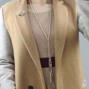 Korean Fashionable Upscale Women Gold Plated multilayer Tassel Long Necklace