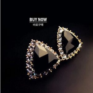 Korean fashion exquisite triangle earrings crystal earrings