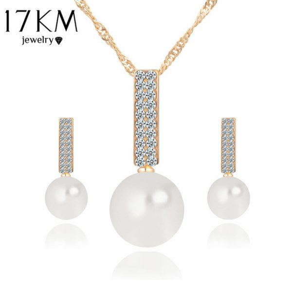 Women Fashion Jewelry Set Necklace Earrings Simple simulated Pearl Pendant Crystal Silver Color
