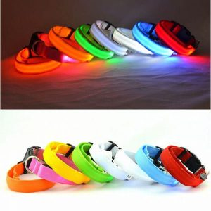 Colorful LED Nylon Pet Dog Collar Night Safety LED Light-up Flashing Glow
