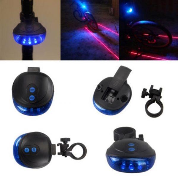 Bike Night Ride Warning Light 5 Blue LED 2 Laser Beam Bicycle Cycling Tail Rear Light Safety Warning Lamp