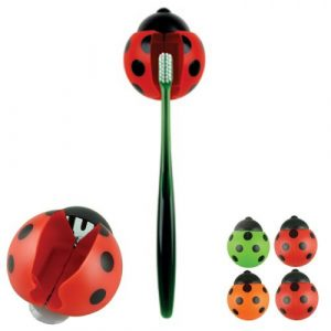 Grand 4PC Ladybug Toothbrush holder Toiletries Toothpaste Holder Bathroom Sets Suction Hooks