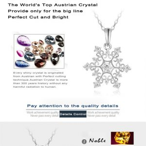 Beagloer Exquisite Snowflake Pendant Platinum Plated with Zirconia Jewellery Valentine's Day Gift
