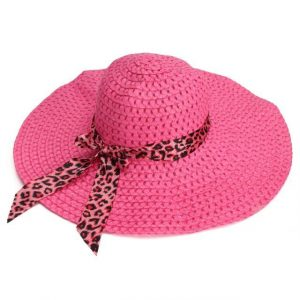 Women Sun Hat Candy Color Straw Hat Wide Large Brim Floppy Summer Beach Cap with Leopard Ribbon Rose