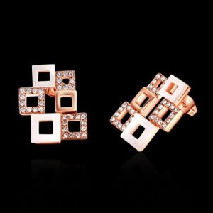 Latest Design 18K Rose Gold Plated Hollowed Shells and Crystals Checkered Frame Earrings