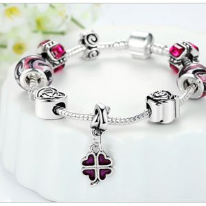 Silver Four Leaf Clover Charm Bracelet with Purple Beads for Women