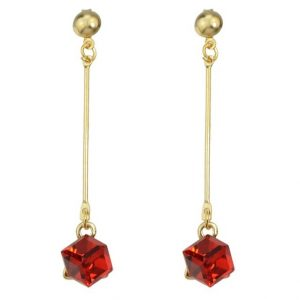 Long Square Colorful Crystal Dangle Earrings