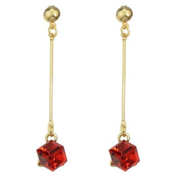 Long Square Colorful Crystal Dangle Earrings