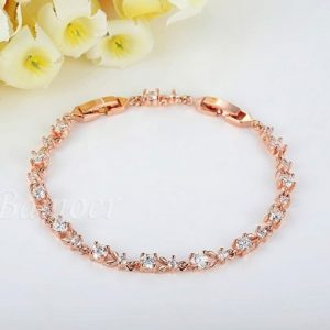 Luxury 18K Rose Gold Plated Chain Bracelet for Women