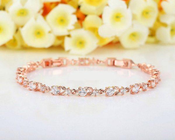 Luxury 18K Rose Gold Plated Chain Bracelet for Women