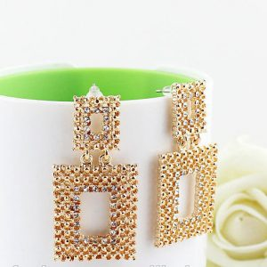 Luxury Clear Rhinestone Square Hollow Earrings