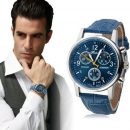 Luxury Fashion Crocodile Faux Leather Mens Analog Watch Blue