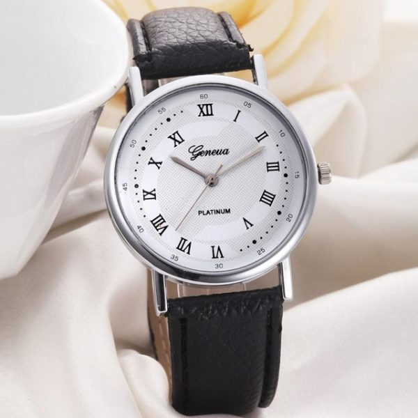 Luxury Fashion Faux Leather Women Leisure Dial Quartz Analog Watch