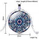 Mandala Flower Picture Necklace Jewelry Dome Glass Pendant Necklaces For Women