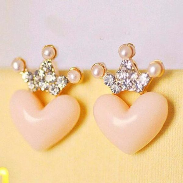 Mellow Pink Crystal Crown Peach Heart Love Stud Earrings Pearl earrings small fresh crown earrings