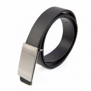 Mens Faux Leather Metal Automatic Formal Buckle Dress Waist Band Strap Belt