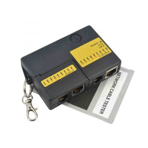 Mini RJ45 RJ11 Cat5 Network LAN Cable Tester with KeyChain 9 LEDs
