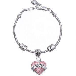Mom Bracelet Heart Shape Beads Crystal Rhinestone