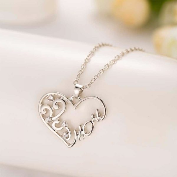 """Fashion Korean mother and child love """"Mom"""" crystal pendant necklace"""