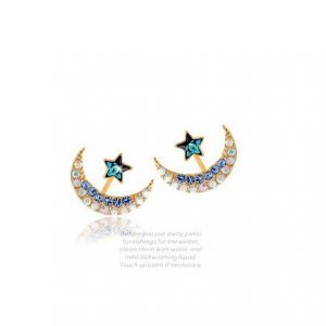 Moon and the Stars hanging around Rhinestone buckle sweet earrings
