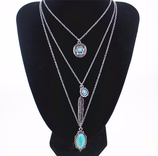 Multilayer Blue Feather Long Chain Vintage Crystal Tassel Necklaces & Pendants For Women