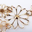 Multilayer Pendants Rhinestone gold hollow flowers necklace