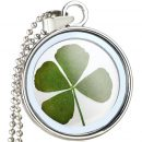 Natural Clover Floating Dried Flowers Pendant Necklaces Jewelry For Women