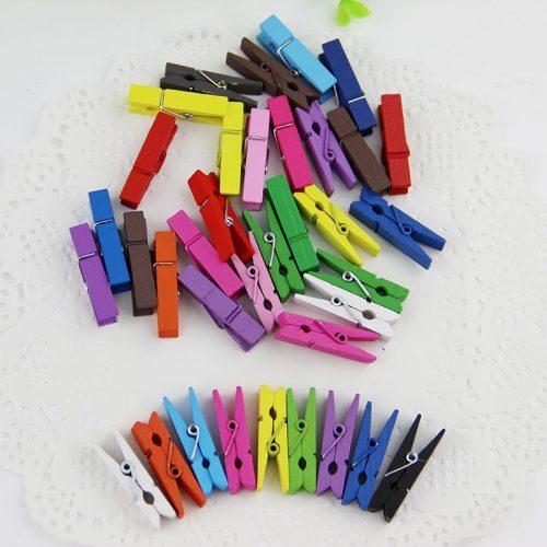 Mini Wooden Mixed color Clothes Photo Paper Peg Pin