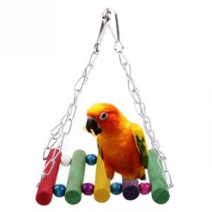 Parrot Swing Bird Toy Wooden Rat Mouse Hamster Hanging Hammock Toys