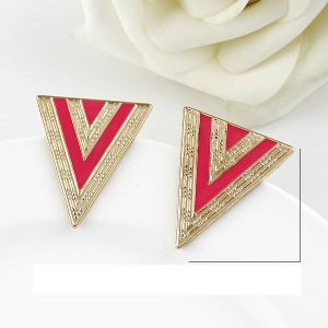 Pink-Esmaltes-Triangle-Earrings- at clicknorder.pk
