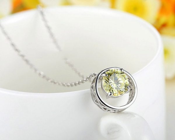 Platinum Pendants Necklaces with Green AAA CZ Cubic Zircon