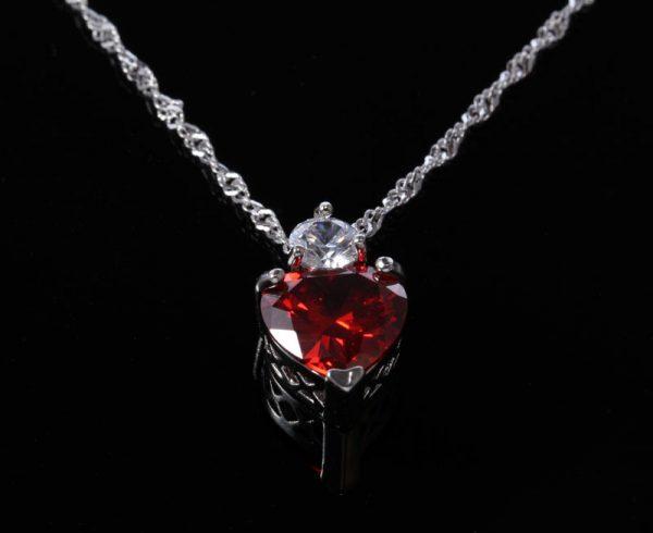 Red crystal Copper inlay zircon crystal pendant necklace