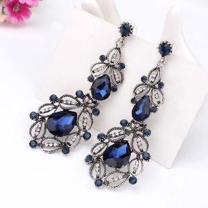 Retro Hollow Drop Dangles Earrings For Women Rhinestone Wedding Party Jewelry