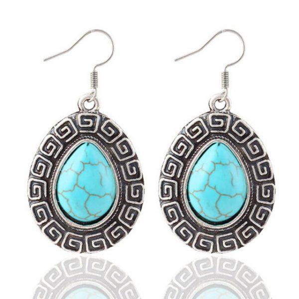 Retro Jewelry Turquoise Rhinestone Earrings