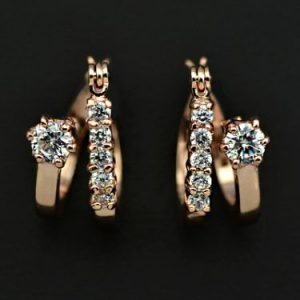 Rose Gold Plated Double Circle with Cubic Zircon Diamond Hoop Earring