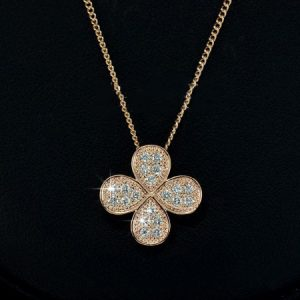 Rose Gold Plated Brand Design Four Leaves Flower Pendant Necklace