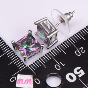 Rose Rainbow Topaz Women Earrings 925 Sterling Silver