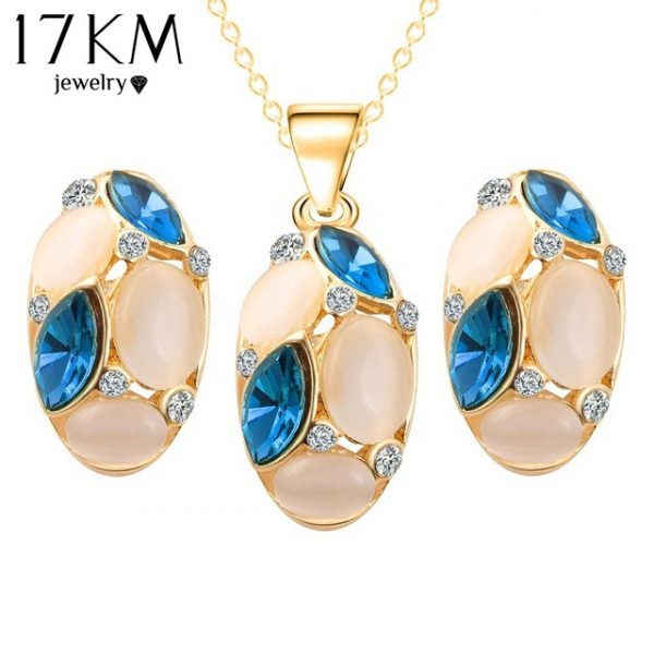 Brand Design Cute Opal Jewelry Sets Pendant Necklaces Earrings For Women Wedding Color Crystal Jewelry