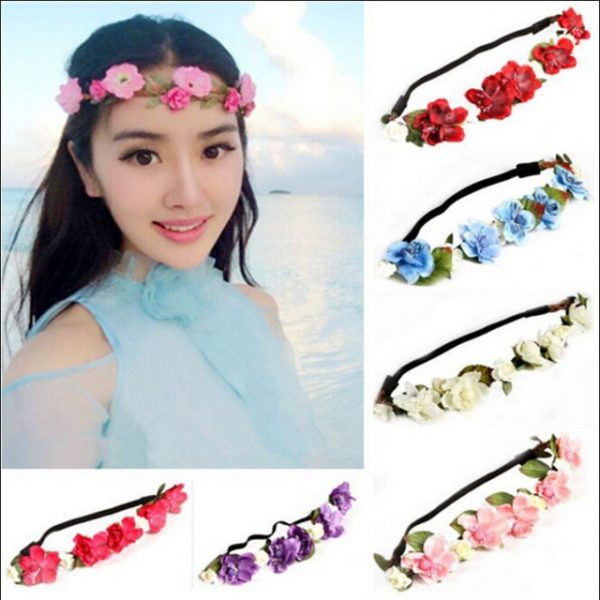 New Exquisitely lovely fresh sea beach Style Floral Flower Rose Hair Wreaths Headband Hair Band