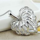 New Luxury Heart Pendant Chain Gold Rhinestone Chic Hollow Silver Plated Necklace Charm Crystal
