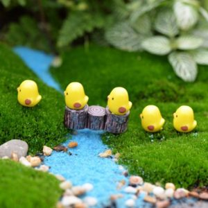 5pcs/lot Miniature Fairy Figurines Cute Mini Chick Garden Miniatures Artificial
