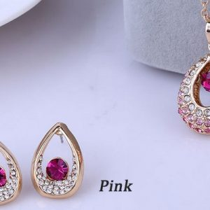 Bridal Jewelry Sets Hot Sale Classic White/ Gold Plated Water Drop Crystal Rhinestone Earrings Necklaces